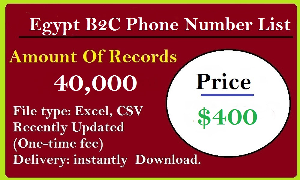 Egypt B2C Phone Number List