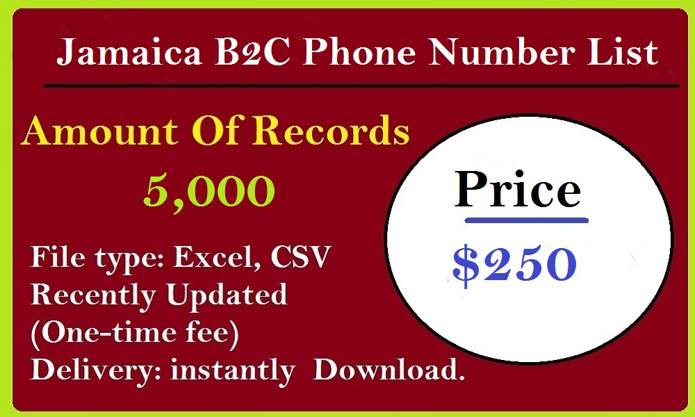 Jamaica B2C Phone Number List