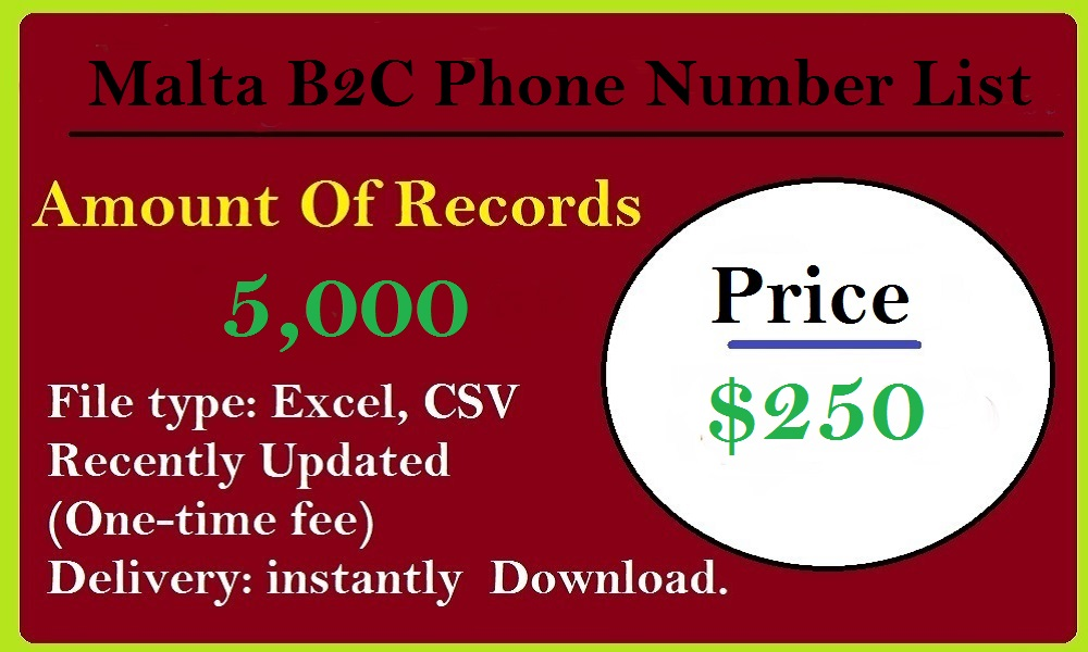 Malta B2C Phone Number List