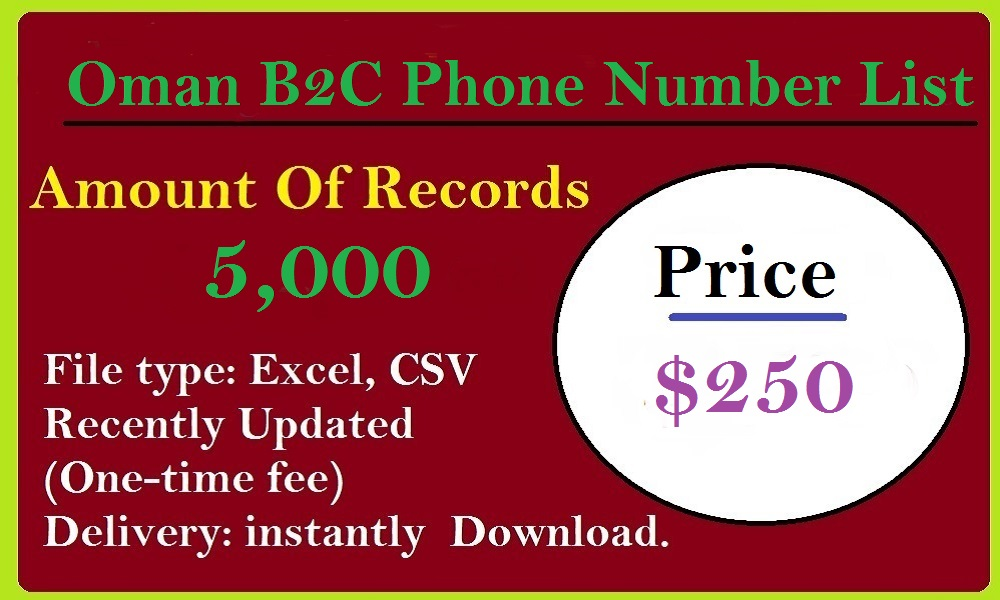 Oman B2C Phone Number List